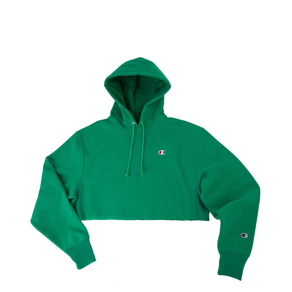 Womens Champion Reverse Weave Cropped Hoodie - Green