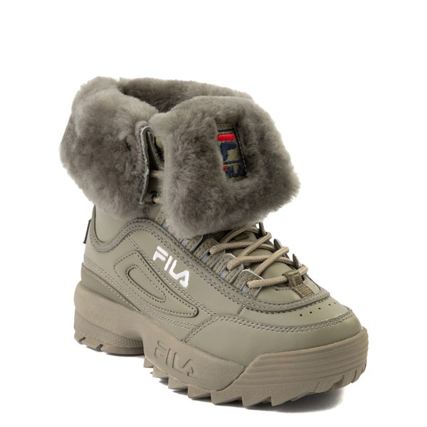 alternate view Fila Disruptor Shearling Boot - Little Kid - OliveALT1