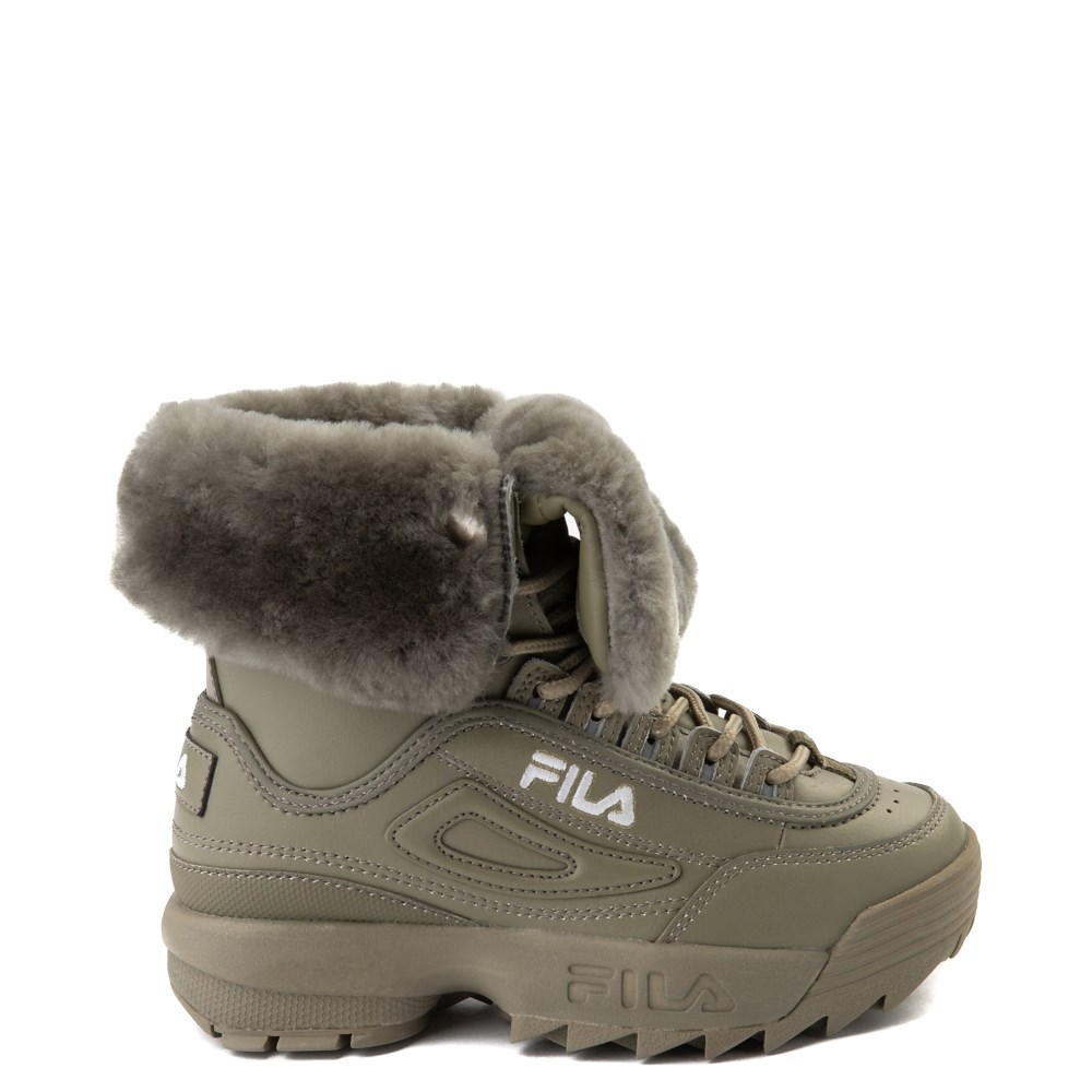 Fila Disruptor Shearling Boot - Little Kid - Olive
