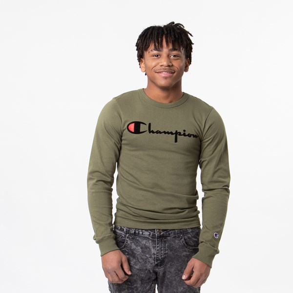 Mens Champion Heritage Long Sleeve Tee - Olive