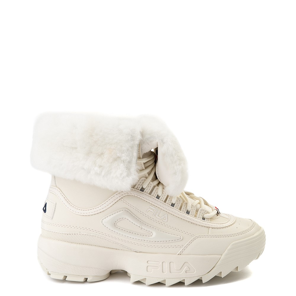 Womens Fila Disruptor Shearling Boot - Gardenia