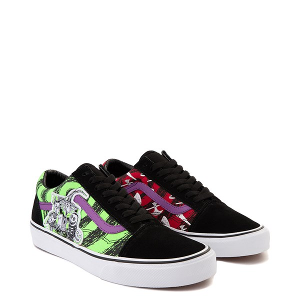 alternate view Vans x The Nightmare Before Christmas Old Skool Lock, Shock, and Barrel Skate Shoe - Black / Green / RedALT1