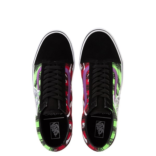 alternate view Vans x The Nightmare Before Christmas Old Skool Lock, Shock, and Barrel Skate Shoe - Black / Green / RedALT1B