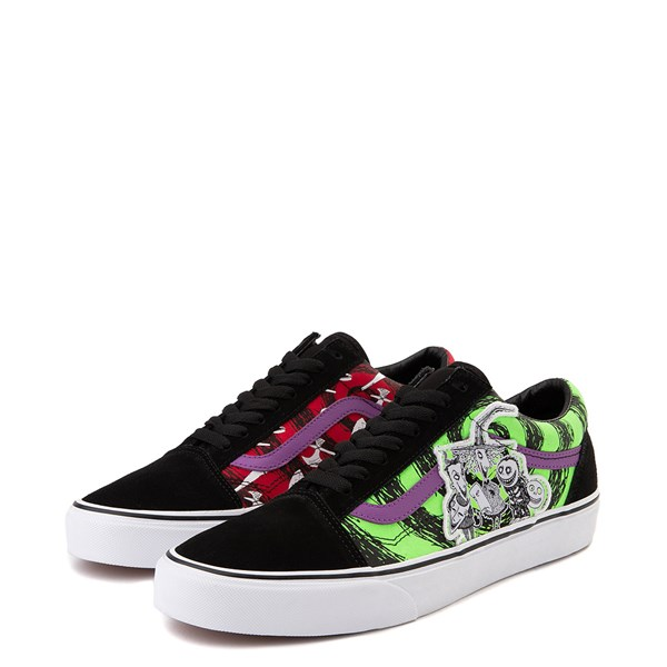 alternate view Vans x The Nightmare Before Christmas Old Skool Lock, Shock, and Barrel Skate Shoe - Black / Green / RedALT3
