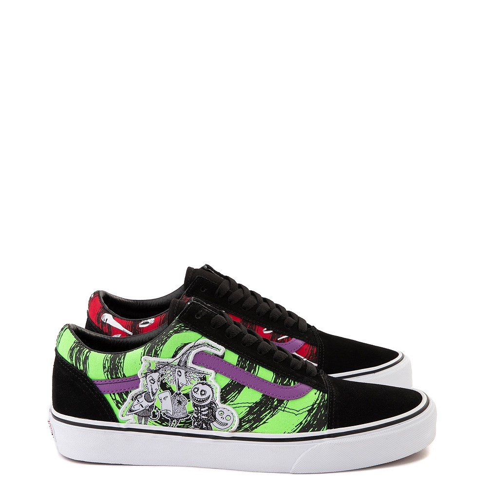 Vans x The Nightmare Before Christmas Old Skool Lock, Shock, and Barrel Skate Shoe - Black / Green / Red