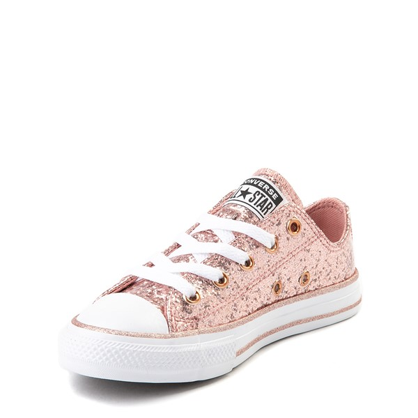 alternate view Converse Chuck Taylor All Star Lo Glitter Sneaker - Little Kid - Rose GoldALT2
