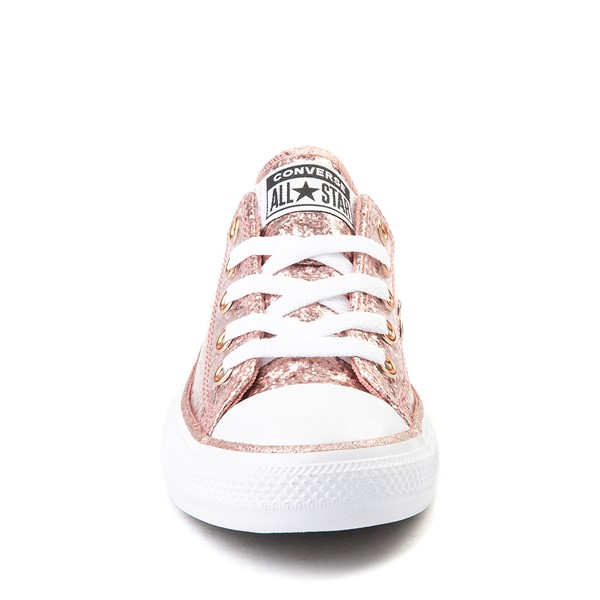 alternate view Converse Chuck Taylor All Star Lo Glitter Sneaker - Little Kid - Rose GoldALT4
