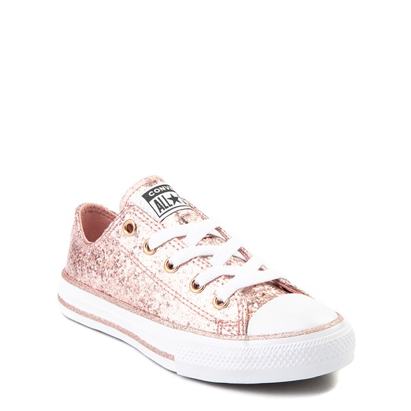 alternate view Converse Chuck Taylor All Star Lo Glitter Sneaker - Little Kid - Rose GoldALT5