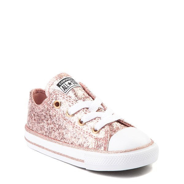 alternate view Converse Chuck Taylor All Star Lo Glitter Sneaker - Baby / Toddler - Rose GoldALT1