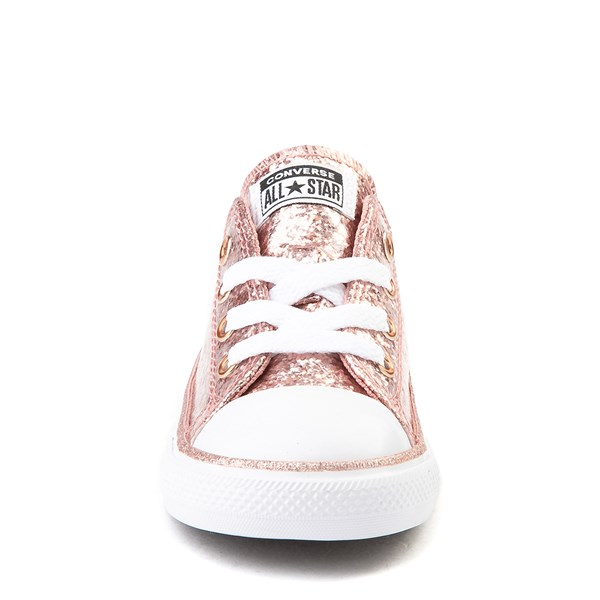 alternate view Converse Chuck Taylor All Star Lo Glitter Sneaker - Baby / Toddler - Rose GoldALT4