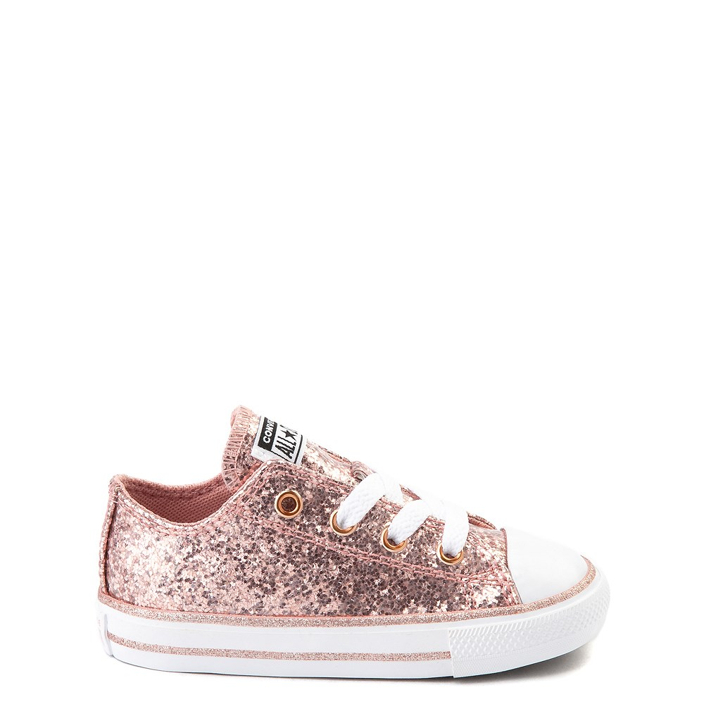 Converse Chuck Taylor All Star Lo Glitter Sneaker - Baby / Toddler - Rose Gold