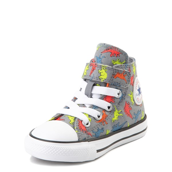 alternate view Converse Chuck Taylor All Star 1V Hi Dinoverse Sneaker - Baby / Toddler - Gray / MultiALT3