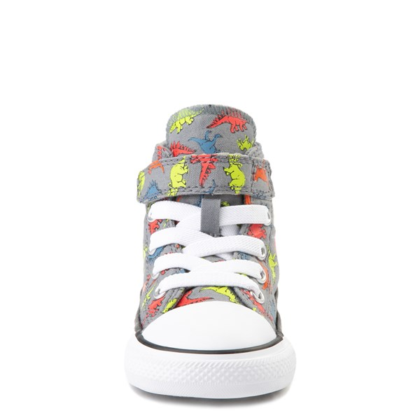 alternate view Converse Chuck Taylor All Star 1V Hi Dinoverse Sneaker - Baby / Toddler - Gray / MultiALT4