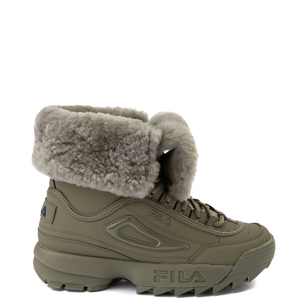 Womens Fila Disruptor Shearling Boot - Olive