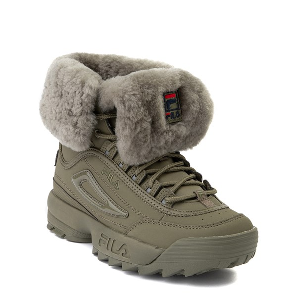 alternate view Womens Fila Disruptor Shearling Boot - OliveALT1B