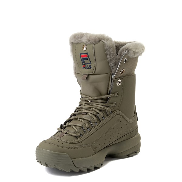 alternate view Womens Fila Disruptor Shearling Boot - OliveALT2