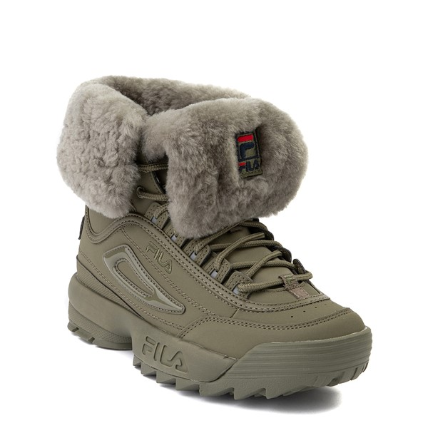 alternate view Womens Fila Disruptor Shearling Boot - OliveALT5