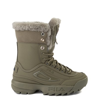 Alternate view of Womens Fila Disruptor Shearling Boot - Olive