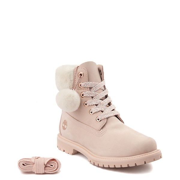 "alternate view Womens Timberland 6"" Premium Shearling Collar Boot - Light PinkALT1"