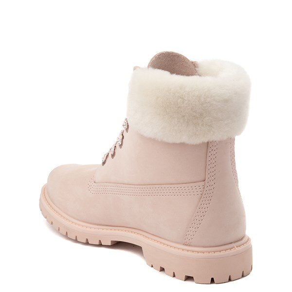 "alternate view Womens Timberland 6"" Premium Shearling Collar Boot - Light PinkALT2"
