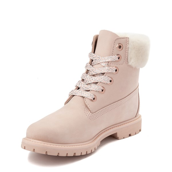"alternate view Womens Timberland 6"" Premium Shearling Collar Boot - Light PinkALT3"