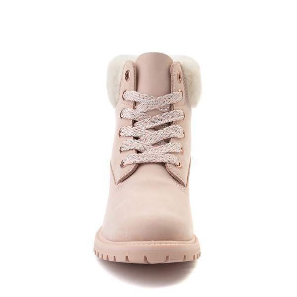 "alternate view Womens Timberland 6"" Premium Shearling Collar Boot - Light PinkALT4"