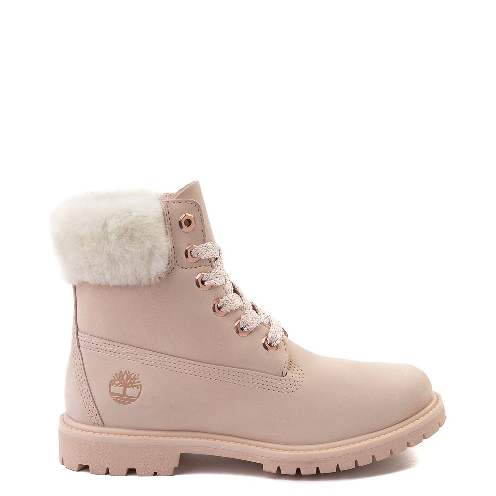 "Womens Timberland 6"" Premium Shearling Collar Boot - Light Pink"