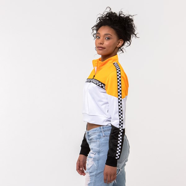 alternate view Womens Vans Olympic Track Jacket - Zinnia Yellow / White / BlackALT2