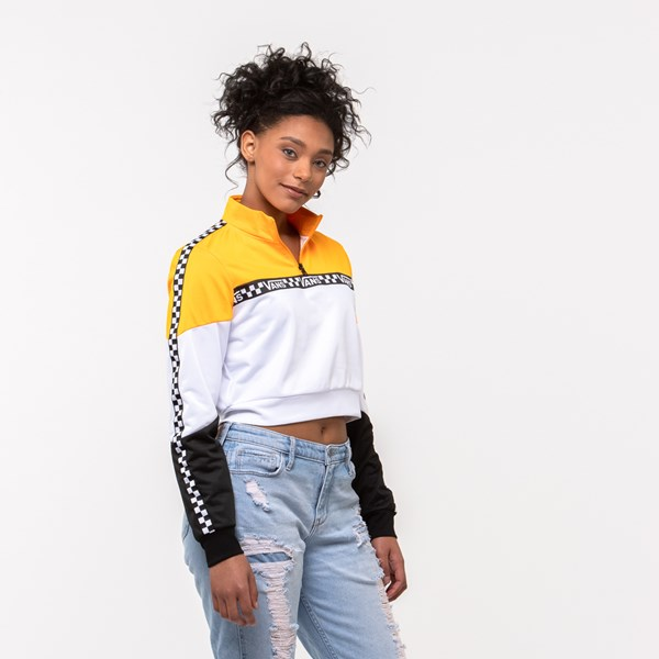 alternate view Womens Vans Olympic Track Jacket - Zinnia Yellow / White / BlackALT3