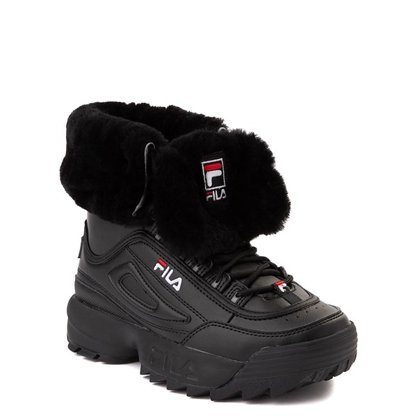 alternate view Fila Disruptor Shearling Boot - Big Kid - BlackALT1