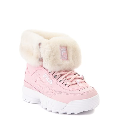 Alternate view of Fila Disruptor Shearling Boot - Little Kid - Pink