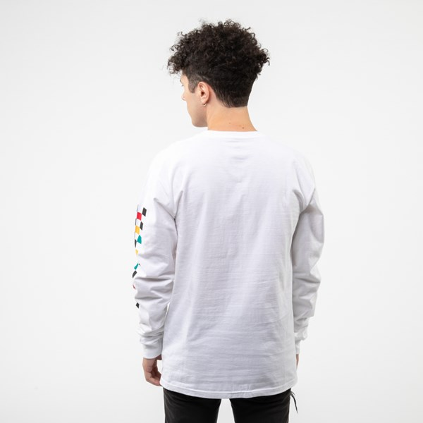 Alternate view of Mens Vans Kalido Color-Block Long Sleeve Tee - White / Multi