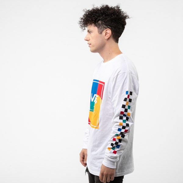 alternate view Mens Vans Kalido Color-Block Long Sleeve Tee - White / MultiALT2