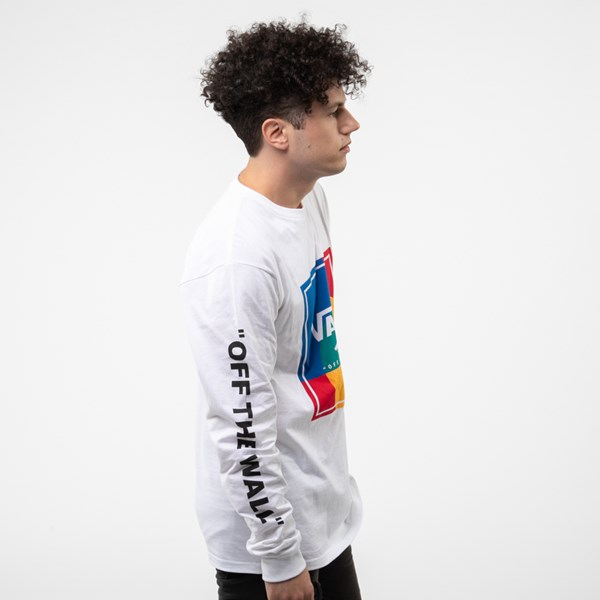 alternate view Mens Vans Kalido Color-Block Long Sleeve Tee - White / MultiALT3