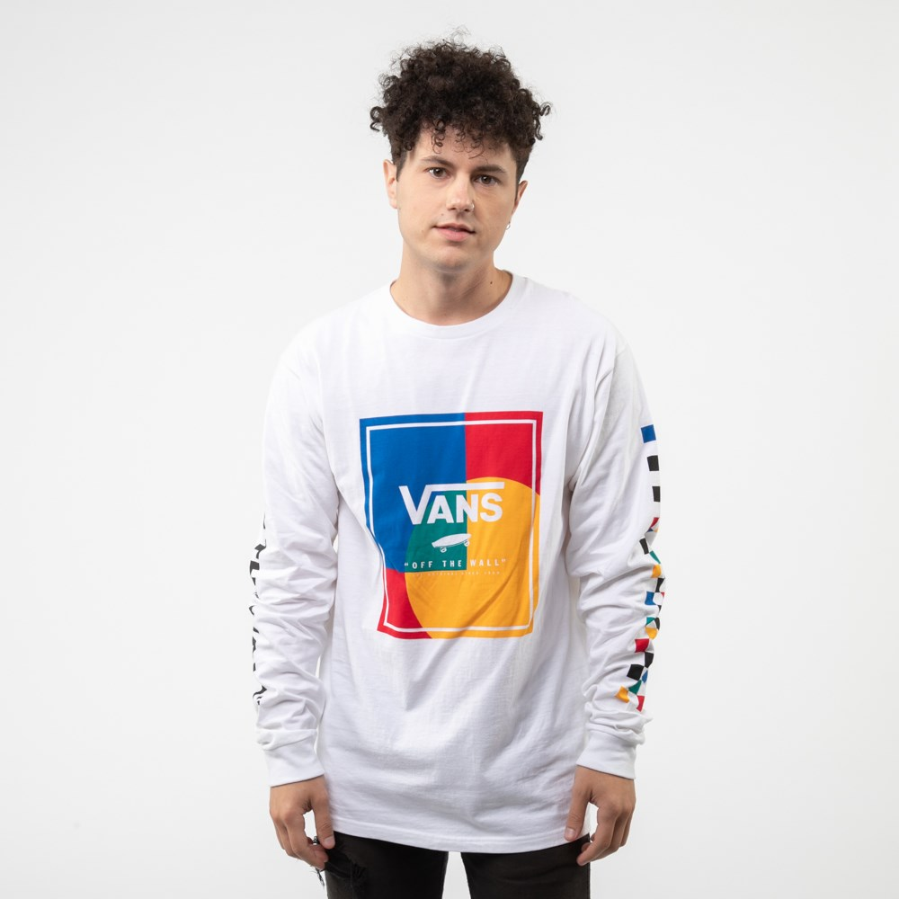Mens Vans Kalido Color-Block Long Sleeve Tee - White / Multi