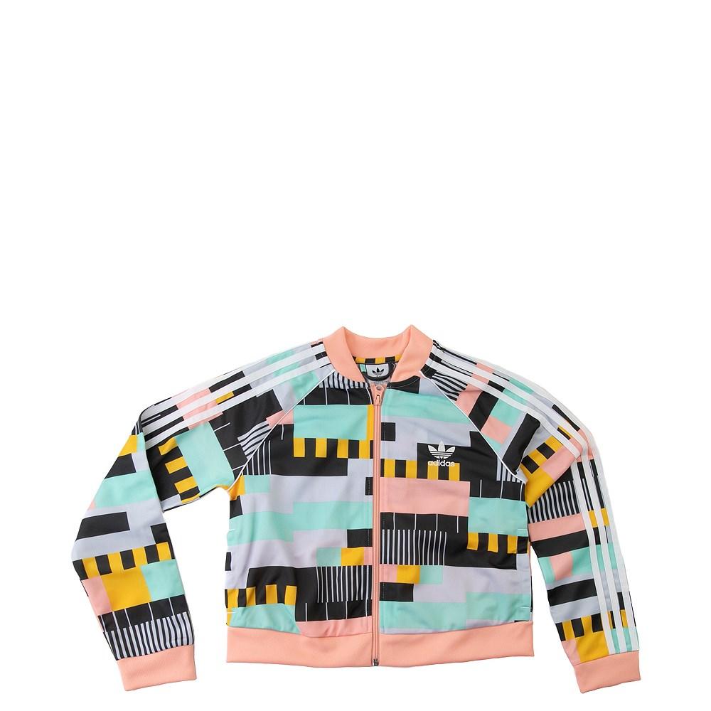 adidas Superstar Cropped Track Jacket - Little Kid / Big Kid - Coral / Multi