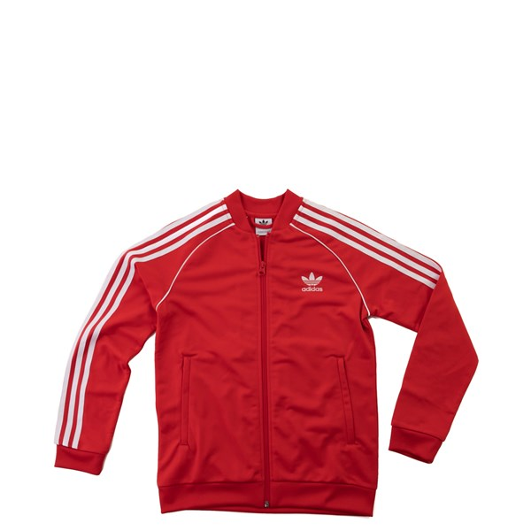 Main view of adidas Superstar Track Jacket - Little Kid / Big Kid - Red