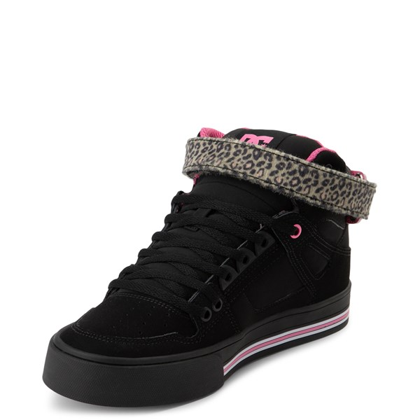 alternate view Womens DC Pure Hi V Skate Shoe - Pink / LeopardALT3