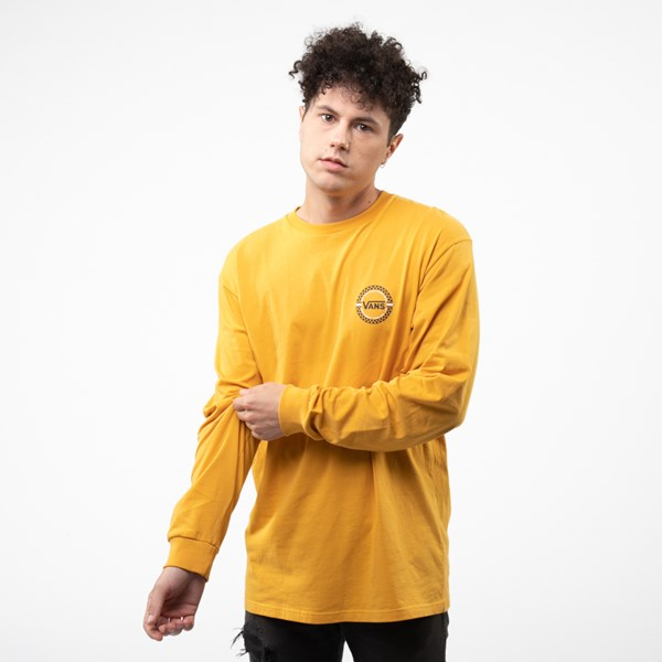 alternate view Mens Vans Circle Check Long Sleeve Tee - Mineral YellowALT1