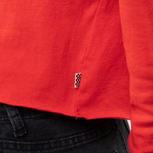 alternate view Womens Vans Outline Cropped Long Sleeve Tee - Racing RedALT5