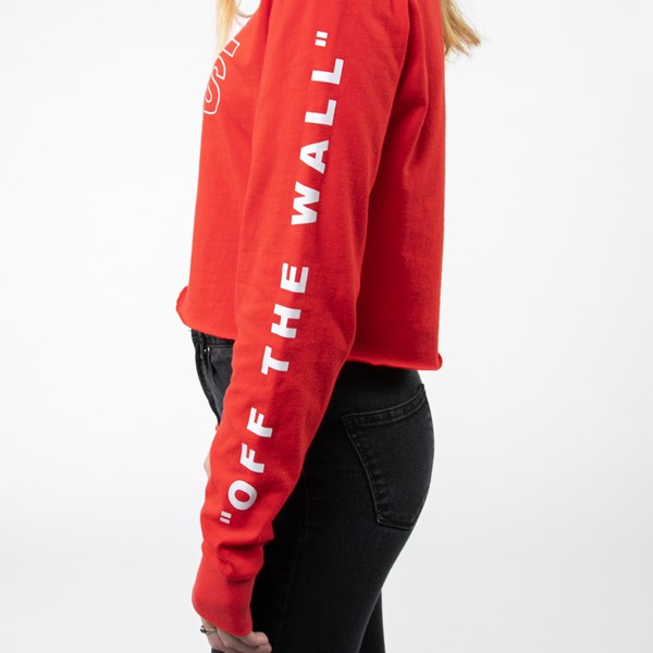 alternate view Womens Vans Outline Cropped Long Sleeve Tee - Racing RedALT6