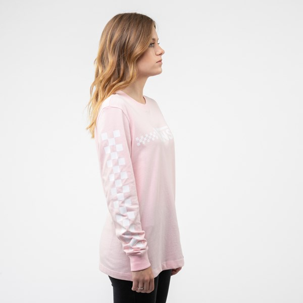 alternate view Womens Vans Funnier Check Long Sleeve Boyfriend Tee - Blushing PinkALT3