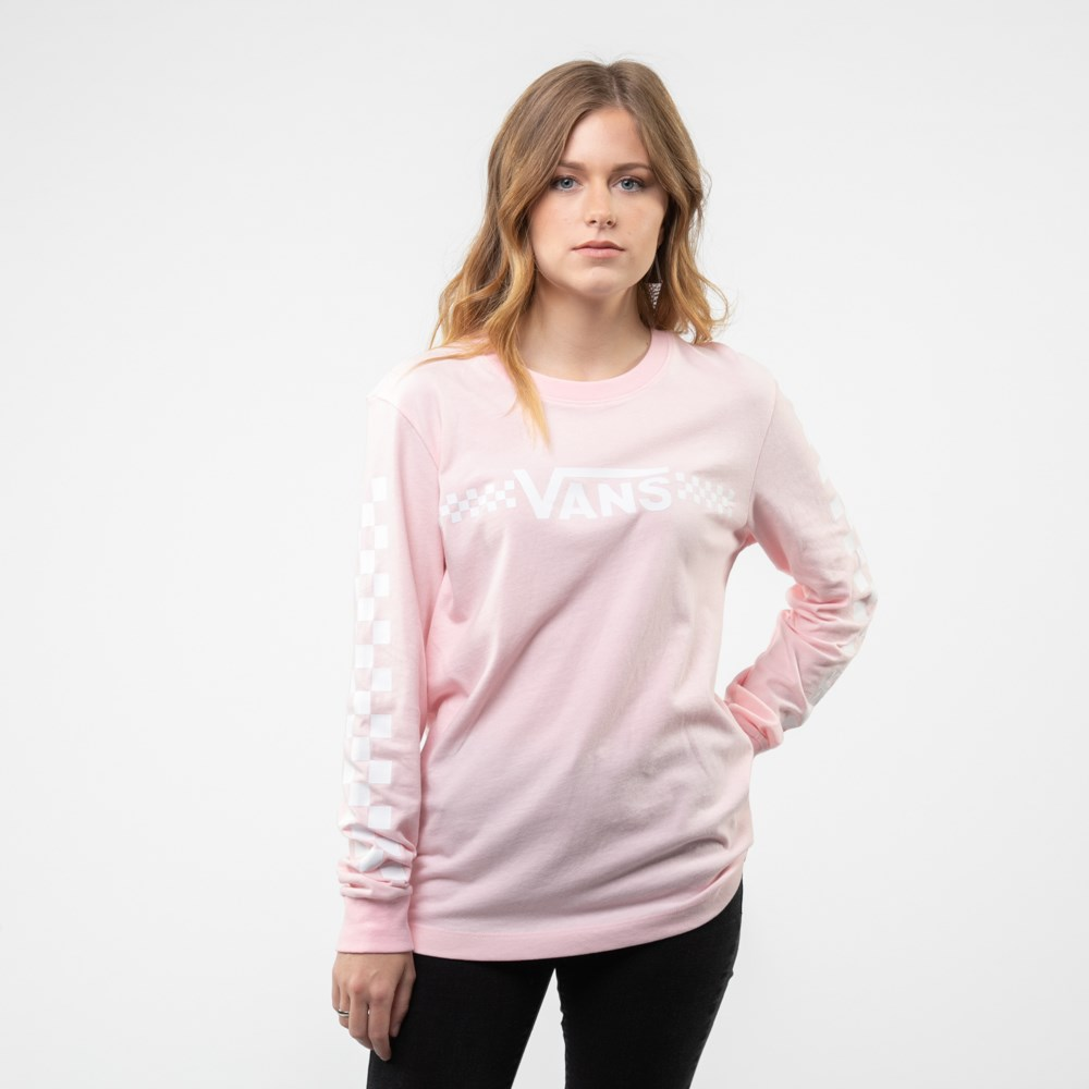 Womens Vans Funnier Check Long Sleeve Boyfriend Tee - Blushing Pink