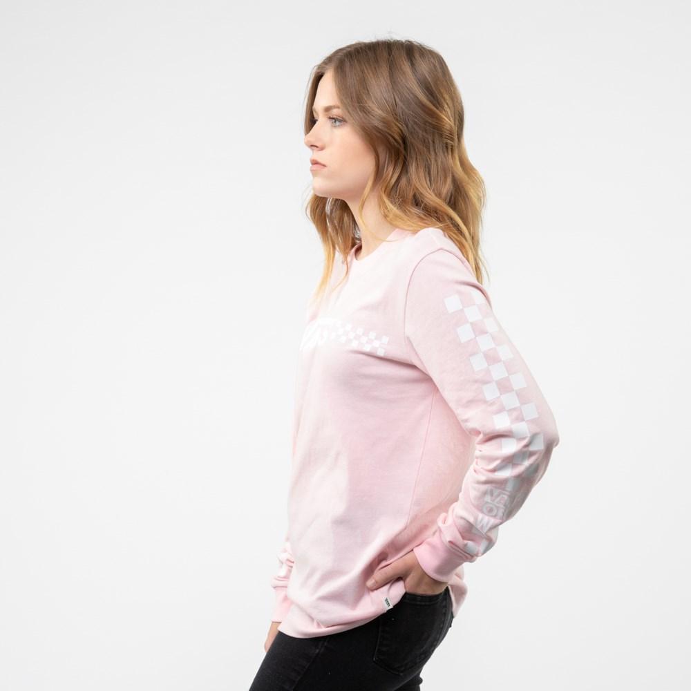 Womens Vans Funnier Check Long Sleeve Boyfriend Tee Blushing Pink