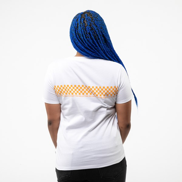alternate view Womens Vans Checkered Boyfriend Tee - White / Zinnia YellowALT1