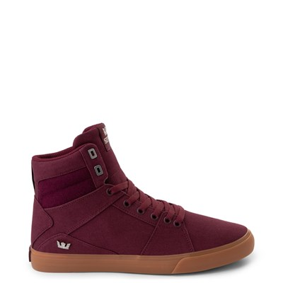 Main view of Mens Supra Aluminum Hi Skate Shoe - Wine