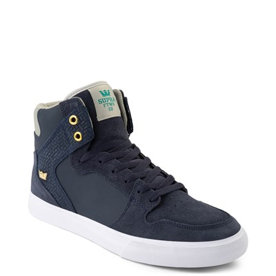 Alternate view of Mens Supra Vaider Hi Skate Shoe - Navy / Stone