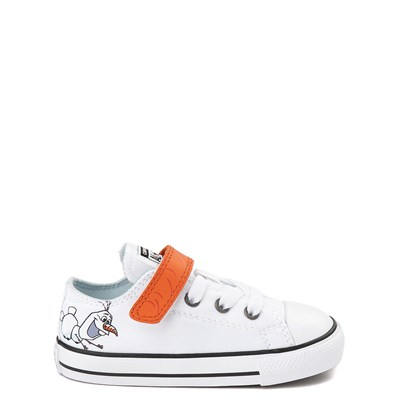 Main view of Converse x Frozen 2 Chuck Taylor All Star 1V Lo Olaf Sneaker - Toddler - White / Orange