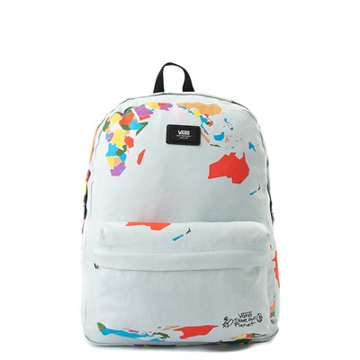 "Main view of Vans Old Skool ""Save Our Planet"" Backpack - White / Multi"