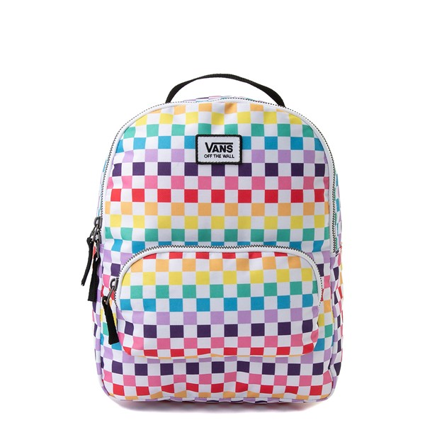 Main view of Vans Off the Wall Mini Checkerboard Backpack - Rainbow
